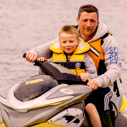 Fun in the water on the jet ski at loch Fyne